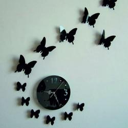 Stylesa Nástenné hodiny nalepovacie zrkadlo motýľ 40 x 40 cm LUNA IA156S