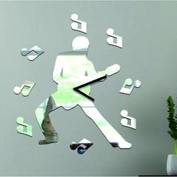 Stylesa Hodiny na stenu nalepovacia 39 x 39 cm  GITARISTA IA055S i sIlver