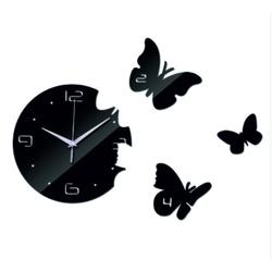 Stylesa Nástenné hodiny motýľ DIY nalepovacie hodiny 40x 40 cm EPSON i čierne