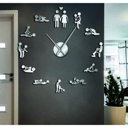 Stylesa Nástenné hodiny kamasutra zrkadlové DIY 3D HROBESO i čierne
