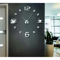 STYLESA Hodiny na stenu nalepovacie káva DIY RUBINA SZ023 zrkadlo silver