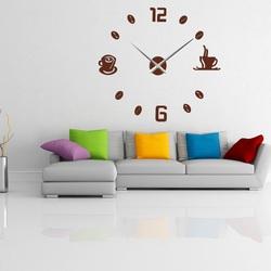 STYLESA Veľké nástenné hodiny nalepovacie COFFE PLEXI P023 hnedé