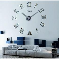 STYLESA nástenné hodiny zrkadlové rímske DIY KOLESOEU SZ031 i silver zrkadlo
