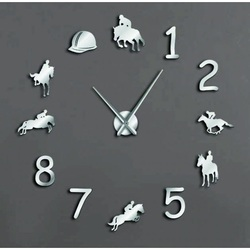 Sentop Moderné nástenné hodiny jazdec na koni ERÉNA SZ057 i čierne