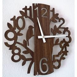 STYLESA drevené nástenné hodiny príroda z HDF PR0162 HORICA  čierne