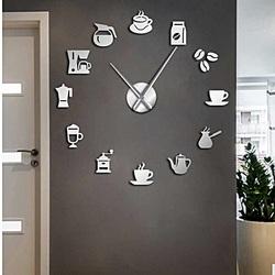 Stylesa Nástenné hodiny zrkadlové nalepovacie káva ZRNO SZ063
