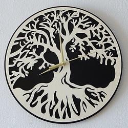 Stylesa Nástenné hodiny strom života materiál preglejka topoľ a čierna MDF PR0163