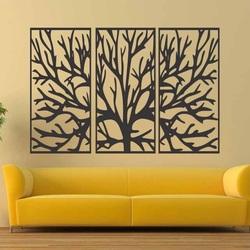 Malowanie ścian drewnianej gałęzi sklejki w ramce / 3 sztuki ramy / FERO