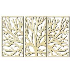 Obraz na stěnu z dřevěné překližky větve stromu v rámu / 3 kusy rámu / FERO