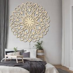 ELLAND Vyřezávaná mandala květ dřevěný obraz na stěnu z překližky