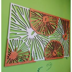 Geschnitztes Bild an der Wand aus Holz Sperrholz orange 3D-Effekt KODJAK