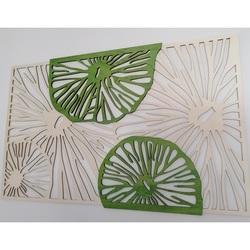 Vyrezávaný obraz  z drevenej preglejky strom originál Topoľ, druhá  farba zelená KIWIKI