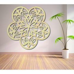 Obraz na stenu mandala z drevenej preglejky kvety